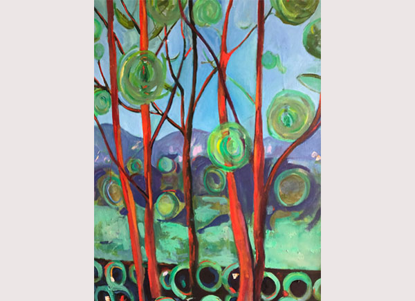 Trees Landscape with Circles